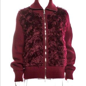 MONCLER NEW Mohair zip cardigan with faux fur